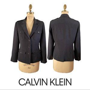 Calvin Klein Black Charcoal Gray Blazer Jacket 8